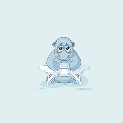 Vector Illustration Emoji character cartoon ballerina Hippopotamus is embarrassed and shy