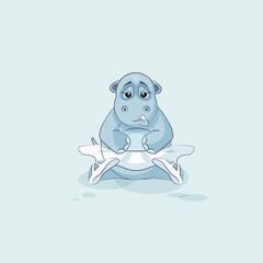 Vector Illustration Emoji character cartoon ballerina Hippopotamus sad and frustrated