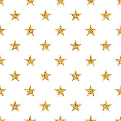 Stars seamless pattern gold and white retro background. Abstract bright golden design for wallpaper, christmas decoration, confetti, textile, wrapping. Symbol of holiday. Vector illustration