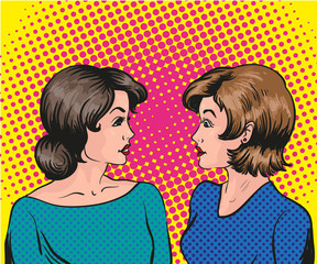 Pop art retro comic vector illustration. Two woman talk to each other
