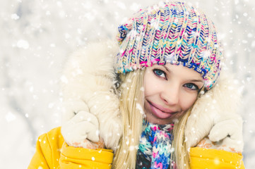 Winter Woman happy smiling outdoor enjoy snowfall Travel and beauty Fashion Lifestyle