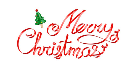 Christmas greetings red ribbon 3d lettering with Christmas tree ice cream on a stick over white