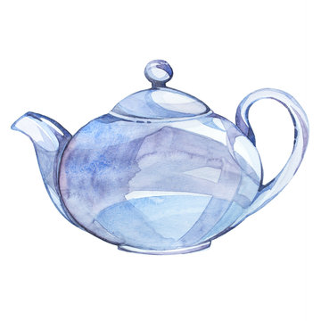 Watercolor illustration on the theme of tea. Kettle