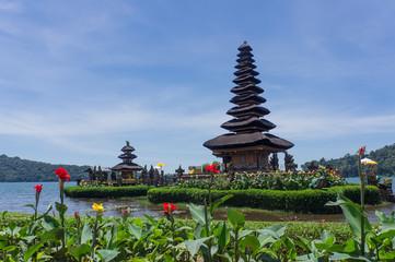 Le temple Ulun Danu Bratan et des fleurs, Bali, Indonésie