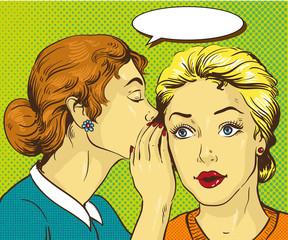 Pop art retro comic vector illustration. Woman whispering gossip or secret to her friend.
