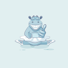 Vector Illustration Emoji character cartoon ballerina Hippopotamus approves with thumb up