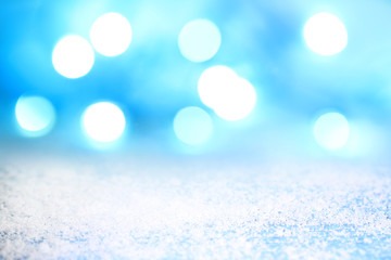 Christmas abstract background with lights and snow