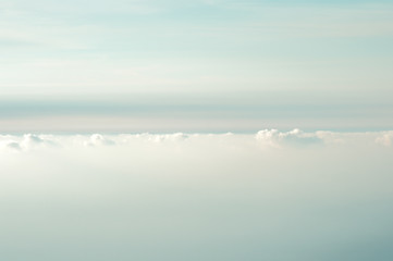 Cloudy Sky background beautiful scenery with natural soft colors Aerial view from mountain summit
