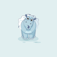 Vector Illustration Emoji character cartoon ballerina Hippopotamus surprised with big eyes
