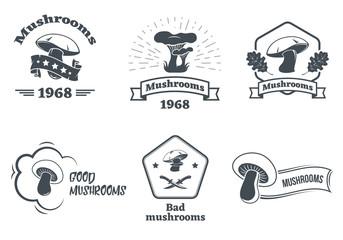 Mushrooms logo set. Design elements, icons, emblems and badges isolated on white background.