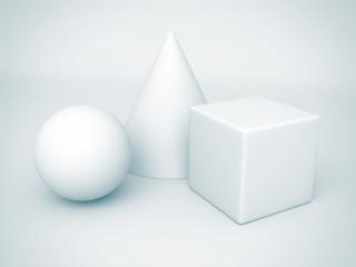 white basic geometric shapes. sphere, cone, cube