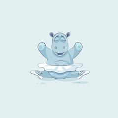 Vector Stock Illustration isolated Emoji character cartoon ballerina Hippopotamus sits in splits