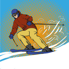 Man skier skiing in mountains. Vector illustration in pop art retro style. Winter sports vacation concept