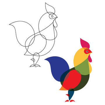 Outline drawing of a rooster. Coloring. Vector Image.