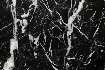 White patterned detailed of black Marquina marble pattern texture