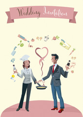 Wedding Invitation Couple as chefs