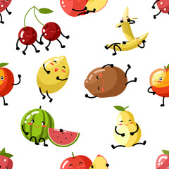 Cute fruit apple cherry watermelon kiwi strawberry lemon peach pear banana healthy food cartoon children characters flat design icons seamless pattern background vector illustration