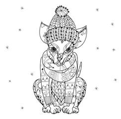 Hand drawn doodle outline chihuahua dog boho sketch