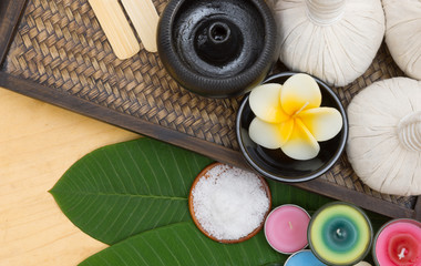Composition of spa treatment on the wooden table. Top view..