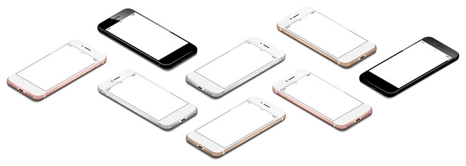 different smartphones in isometric perspective