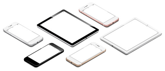 different smartphones and tablets mixed in isometric perspective