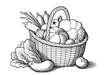 Vegetables in wicker basket. Stylized black and white vector illustration. Cabbage, pumpkin, eggplants, tomatoes, onion, carrots, broccoli, lettuce