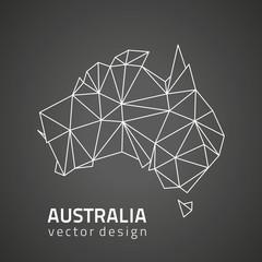 Australia black mosaic outline triangle vector map