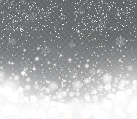 Falling snow with snowflakes on transparent background. Winter s