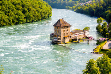 Landscape view on Rhein river with Worh water castle on the north of Switzerland Fototapete