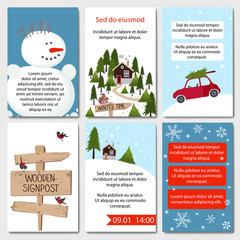 Set of 6 lovely winter cards templates.