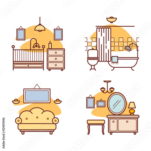 """Home room icons. Living room, bedroom, bathroom"" Imagens ..."