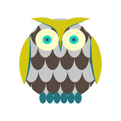 Cartoon owl vector illustration. Green and brown owl bird character in flat style.