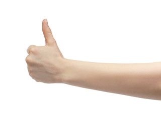 young female hand thum up gesture