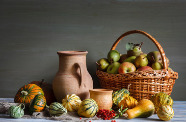 Still life in a rustic style. Autumn. Harvest. Natural light from the window.