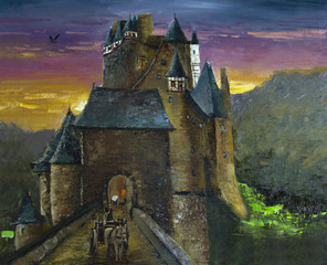 Illustration. German Castle Eltz. oil painting. Art.