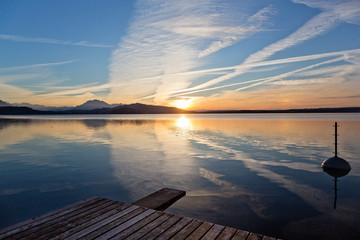 Sonnenuntergang am Zugersee, Schweiz