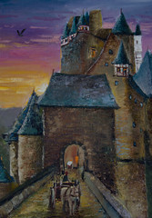 Castle Eltz By Moselle River. Illustration.