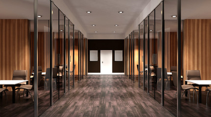 Meeting room. Interior of the modern office in the highlands. 3d