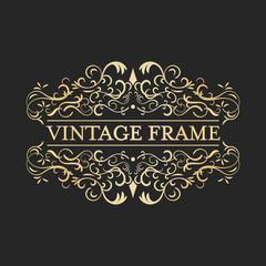 Calligraphic design vintage vector golden frame. Ornate curves and spirals.