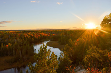 The High banks of the Ausable River in Autumn Wall mural