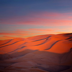 Wall Murals Red Panorama of sand dunes in Sahara desert in Morocco, Africa
