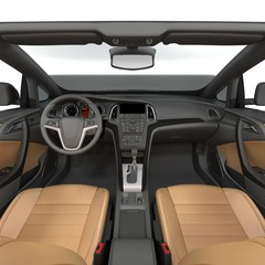 Inside the Roadster - Interior of an Convertible Car on a white. 3D illustration