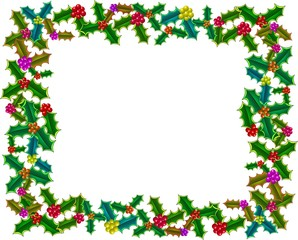 A festive page border decoration with Christmas holly.