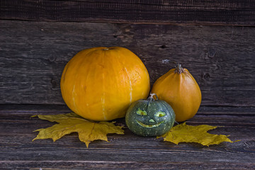 Small Jack O'Lantern on a wooden surface