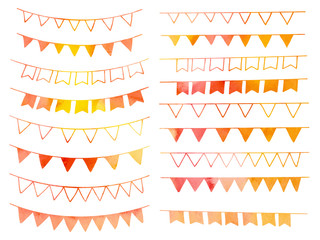 Collection of hand drawn doodle design elements with watercolor texture isolated on white background. Set of autumn handdrawn borders. Bunting flags, banners. Abstract shapes. Vector illustration.
