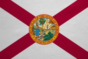 Flag of Florida real detailed fabric texture