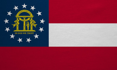 Flag of Georgia state real detailed fabric texture