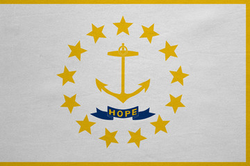 Flag of Rhode Island real detailed fabric texture