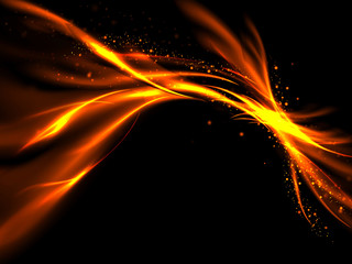 Abstract glowing lines of fire and stars on a black background, vector illustration