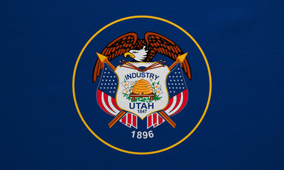 Flag of Utah real detailed fabric texture
